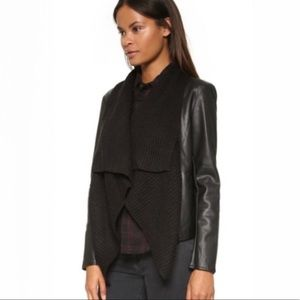 Ci Sono Cavalini leather sweater crop moto jacket